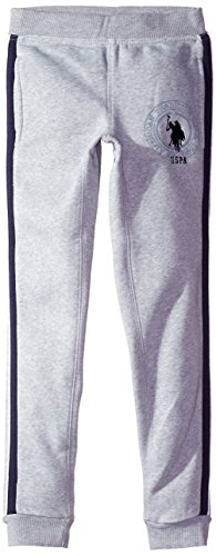 U.S. Polo Assn. Big Boys' Fleece Jogger, Light Heather Gray, 8