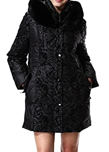 BORUIDESI Women's Monther's Luxury Plus Size Hooded Animal Fur Print Trim Down Coat-Black-2XL