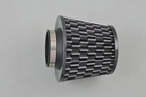 """Sunny Car New 3.0"""" Inlet Carbon Fiber Black Universal Cold Air Intake Cone Air Filter"""
