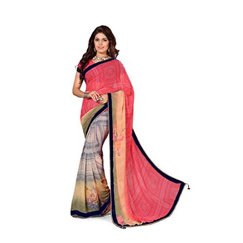 Anusha Dark Pink,Grey,Tan Georgette Self Printed With Attached Border Saree