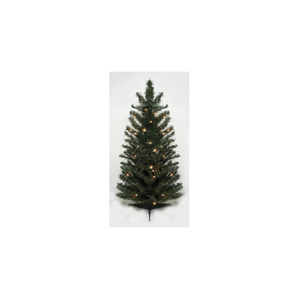 3 Pre Lit Canadian Pine Artificial Christmas Tree   Clear Lights