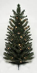 #!Cheap 3' Pre-Lit Canadian Pine Artificial Christmas Tree - Clear Lights