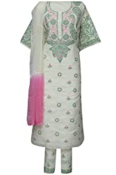 ADA Handloom Embroidery Traditional Salwar Kameez Unstitched Material A92791