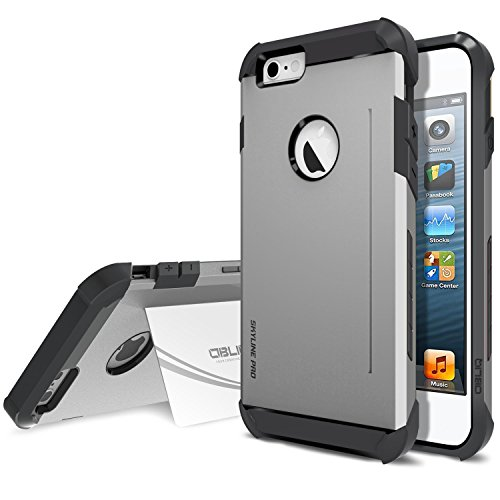 iPhone 6 Plus Case, Obliq [Card Kickstand] iPhone 6 Plus (5.5) Case [SkyLine Pro][Gun Metal] Armor Slim Fit Dual Layer Hard Case Cover - Best Apple iPhone 6 Plus Case for 5.5 Inch (2014)-(Does NOT fit iPhone 5 5S 5C 4 4s or iPhone 6 4.7 inch screen)