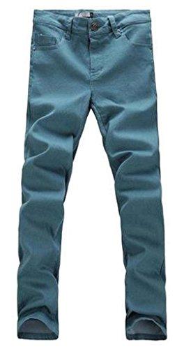 Jeansian Moda Pantaloni Casual Uomo Slim Uomini Tendenze J203 GrayGreen W32