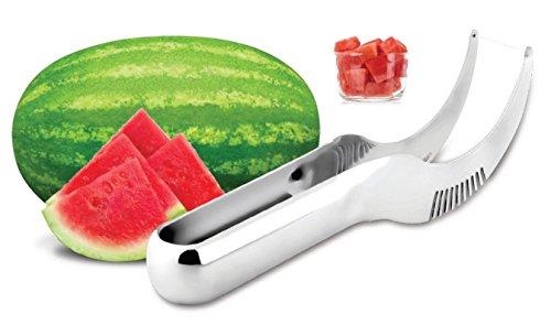 Premium Watermelon Slicer Knife&Server Tongs As Seen On Tv-Melon Cantaloupe Fruit Cutter & Peeler Original Stainless Steel Dish Washer Safe