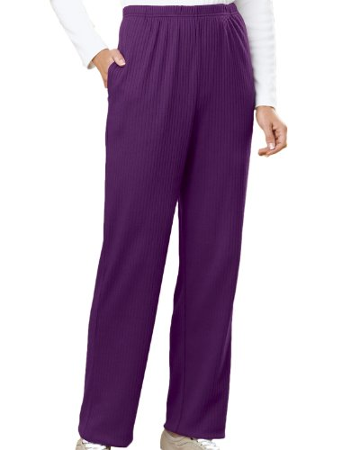 Ultrasofts by National Drop-needle Stitch Knit Pants, Plum, PXL