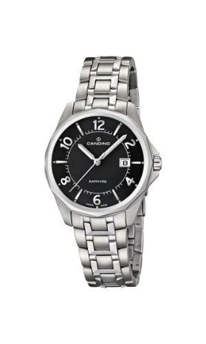 Candino Women's Quartz Watch with Black Dial Analogue Display and Silver Stainless Steel Bracelet C4492/4