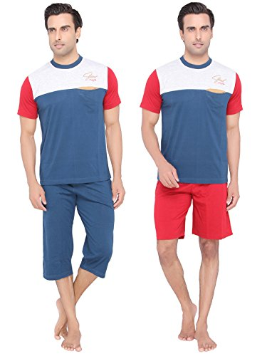 Mens-Blue-color-Round-Neck-Top-Capri-Shorts-3-Piece-Set-by-Valentine