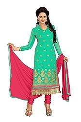 Vardhman MAHEK 60GRAM Green Georgette unstitched Straight Salwar Suit Dress Material