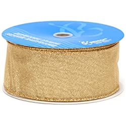 Berwick Wired Edge Envy Craft Ribbon, 2-1/2-Inch Wide by 50-Yard Spool, Gold
