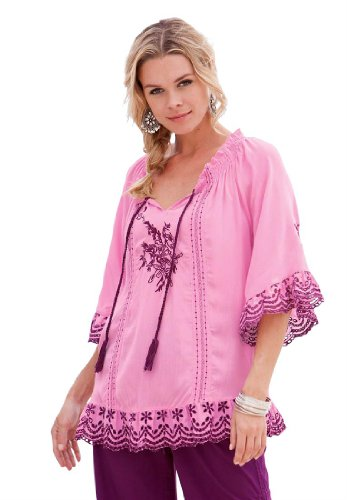 Roamans Women's Plus Size Tropical Romance Eyelet Tunic