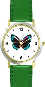 Black, Turquoise & Purple Butterfly - Butterfly Animal - WATCHBUDDY® DELUXE TWO-TONE THEME WATCH - Arabic Numbers - Green Leather Strap-Size-Large ( Men's Size or Jumbo Women's Size )