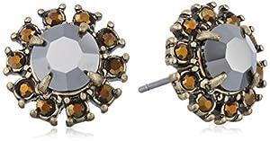 ABS By Allen Schwartz Gold-Tone Black Stone Stud Earrings