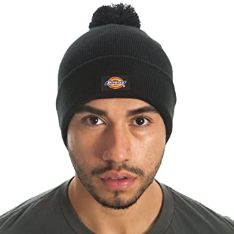 Dickies Men's 14 Inch Cuffed Knit Skull Cap with Pom, Black, One Size