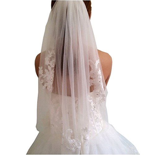 U-Swear Crystal Beaded Short White Bridal Veils 1T With Lace Appliques