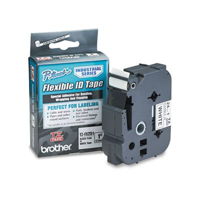 "Brother 1"" Black on White Flexible ID Tape"