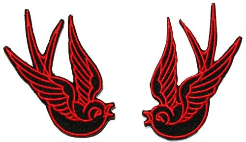 Red/Black Tattoo Sparrow Swallow Emo Punk Embroidered iron on Motorcycle Biker Patch