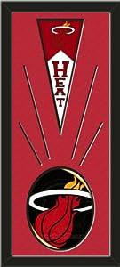 Miami Heat Wool Felt Mini Pennant & Miami Heat Team Logo Photo - Framed With Team... by Art and More, Davenport, IA