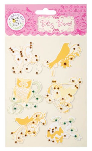 Darice SCR3403 Scrappy Cat Bling Stickers Butterflies, Owl , Bird