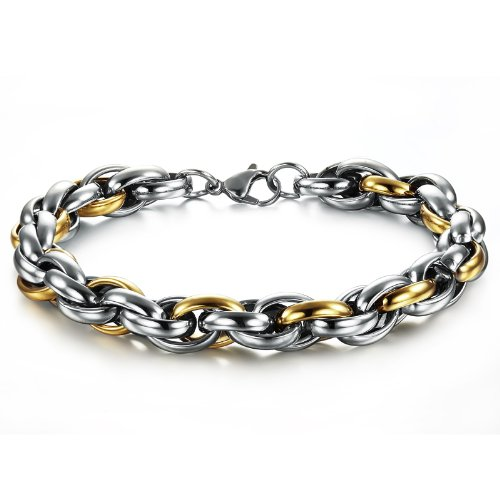 OPK-New Fashion Jewelry Multilayered beautifully Silver And Gold Cool Men's 316L Stainless Steel Bracelet Bangle Best Gift 8.66 Inch Length 10mm Width 57G Weight