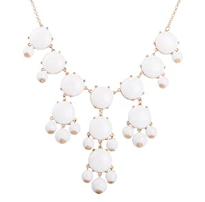 Bubble Necklace, Statement Necklace, Bubble Jewelry(Fn0508-M-Pure White)