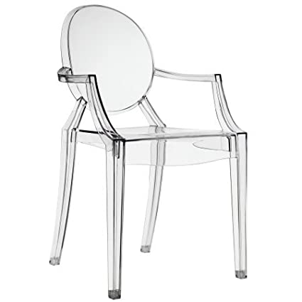 Clear Transparent Acrylic Armchair with Oval Back