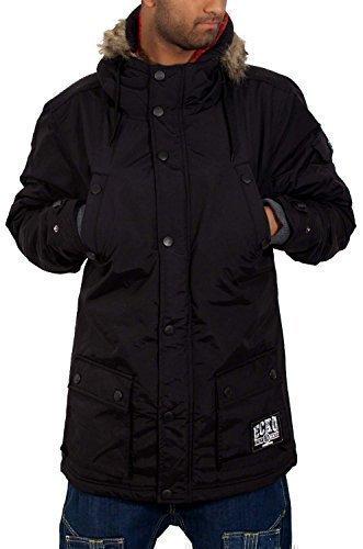 ecko hommes gar ons parka rembourr capuche fausse fourrure noir veste hiver noir homme. Black Bedroom Furniture Sets. Home Design Ideas