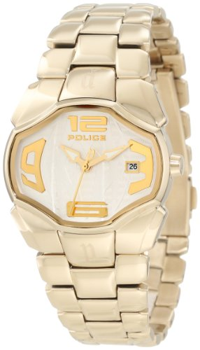 Police Women's PL-12896BSG/04M Angel Silver Dial Gold IP Date Watch