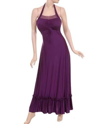 Juniors / Missy Grey / Purple Polyester Sequined Halter Party / Prom Dress - New !