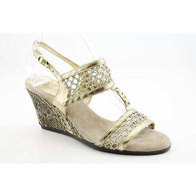 Amalfi By Rangoni Dicomana Womens Size 9 Gold Narrow Leather Wedge Sandals Shoes