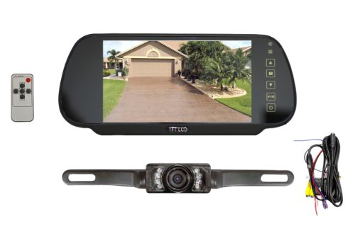 db 01070 Premium 7inch Slim TFT Rearview Mirror Parking System w/ License Plate Mount Night Vision Backup Camera