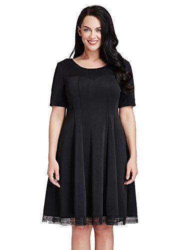LookbookStore Womens Plus Size Black Crochet Hem Skater A-line Knee Length Dress 3X