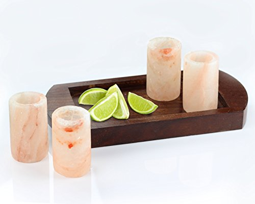 Teikis, 4 Pack, 3 Inch Himalayan Shot Glasses With Wooden Holing Serving Tray