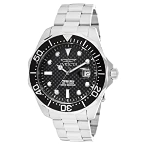 Invicta Men's 12562 Pro Diver Black Carbon Fiber Dial Stainless Steel Watch with Grey/Orange Impact Case