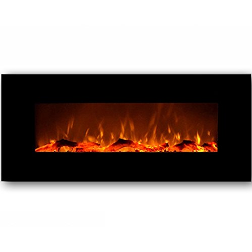 Electric Fireplace Modern Heater Firebox Black Wall