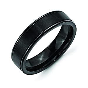 Stainless Steel 6mm Black Ip-Plated Grooved Brushed/Polished Band, Size 6