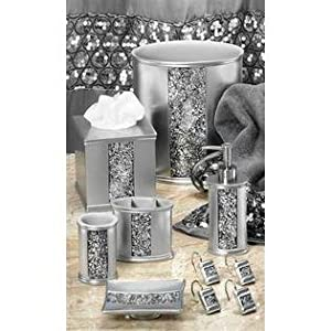 Popular bath sinatra silver 5 pc bath for Bathroom accessories silver
