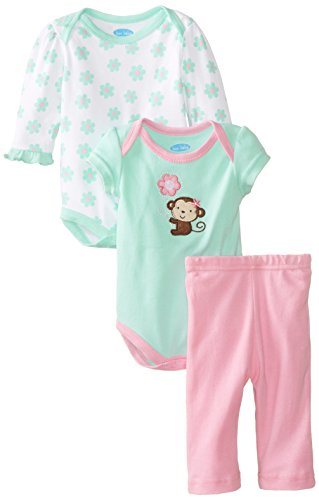 Bon Bebe Baby-Girls Newborn Monkey Pant Set With 2 Bodysuits, Multi, 6-9 Months front-1075925