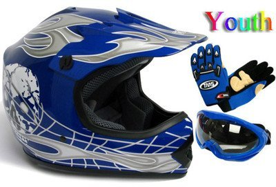 Youth Black/Blue Punk Dirt Bike Atv Motocross Helmet Mx+goggles+gloves (Small)