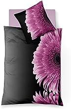 fleuresse 113449 Fb. 6 Mako Satin Bettwäsche, 135 x 200 cm, lila schwarz