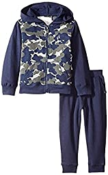 Calvin Klein Baby Boys\' Camo Hoody with Jog Pants, Multi, 18 Months