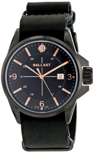 Ballast ODIN Men's Black Genuine Leather Nato Strap Watch - BL-3132-05