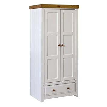 Capri Double Wardrobe 2 Door 1 Drawer Waxed Pine & White Painted Modern Bedroom Furniture