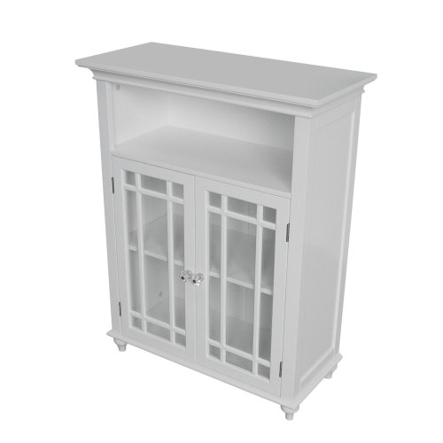 New Elegant Home Fashions Neal Collection Shelved Double-Door Floor Cabinet with Latticed Window Pan...