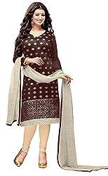 Khushali PresentsEmbroidered Chanderi Dress Material(Coffee,Beige)