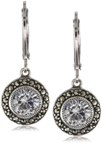 Judith Jack Sterling Silver Cubic Zirconia with Marcasite Pave Drop Earrings