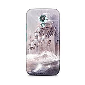 Motivatebox - Moto E2 (2nd Generation) Back Cover - Battleships on Sea Polycarbonate 3D Hard case protective back cover. Premium Quality designer Printed 3D Matte finish hard case back cover.