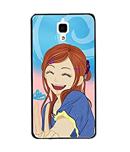 Fuson Happy Girl Back Case Cover for XIAOMI MI4 - D3945