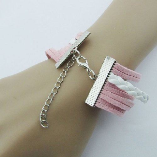 Pooqdo-TM-Fashion-Infinity-Double-Heart-Anchor-Leather-Charm-Bracelet-Pink